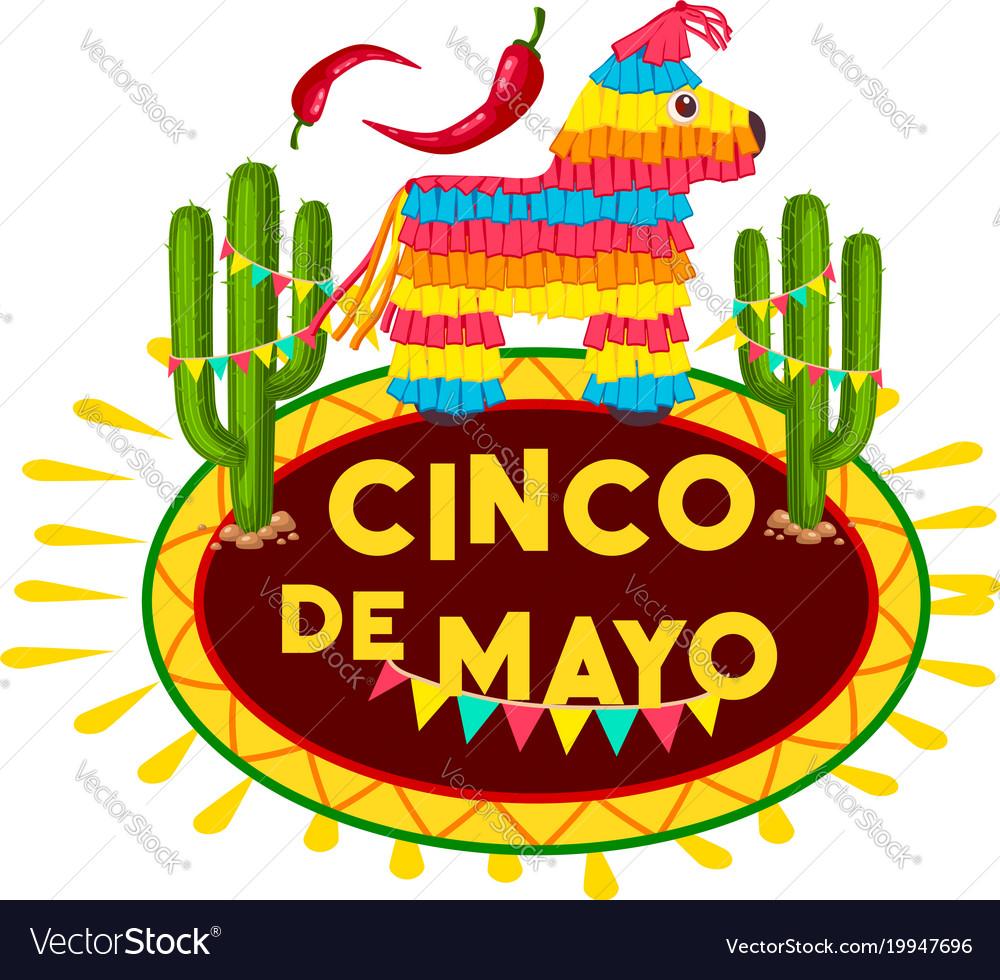 Cinco de mayo mexican fiesta party pinata icon.