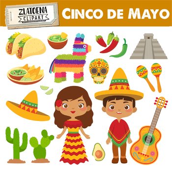 Mexican clip art Cinco de Mayo Fiesta clipart Sombrero Taco.