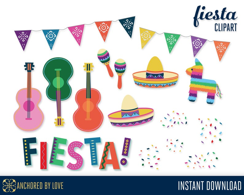 Fiesta Clipart, Cinco de Mayo Clipart, Mexican Clipart, Mexican Fiesta Clip  Art, Pinata Clip Art, Sombrero Clipart, Guitar Clip Art.