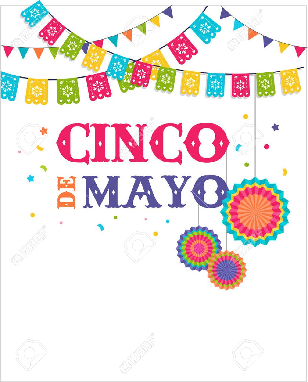 Cinco de mayo, Mexican fiesta banner and poster design with flags,...