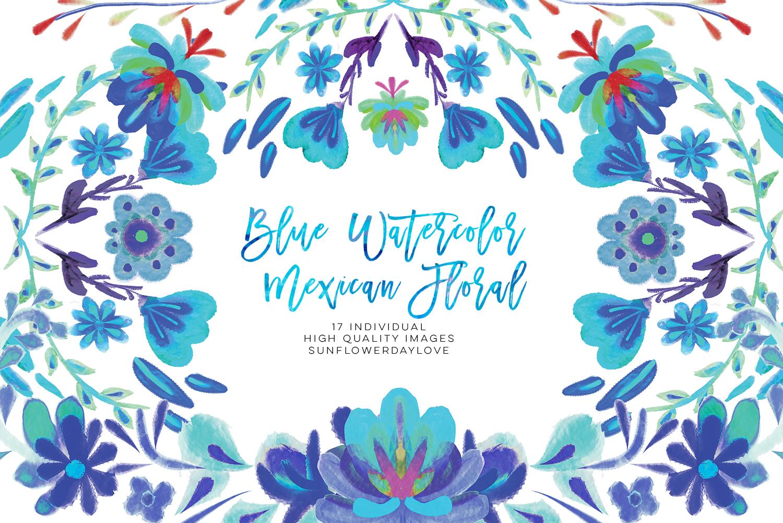 Mexican Watercolor Fiesta Floral clipart, Mexican party cliparts, Flowers  Mexican folk clip art, cinco de mayo clip art, blue watercolor.