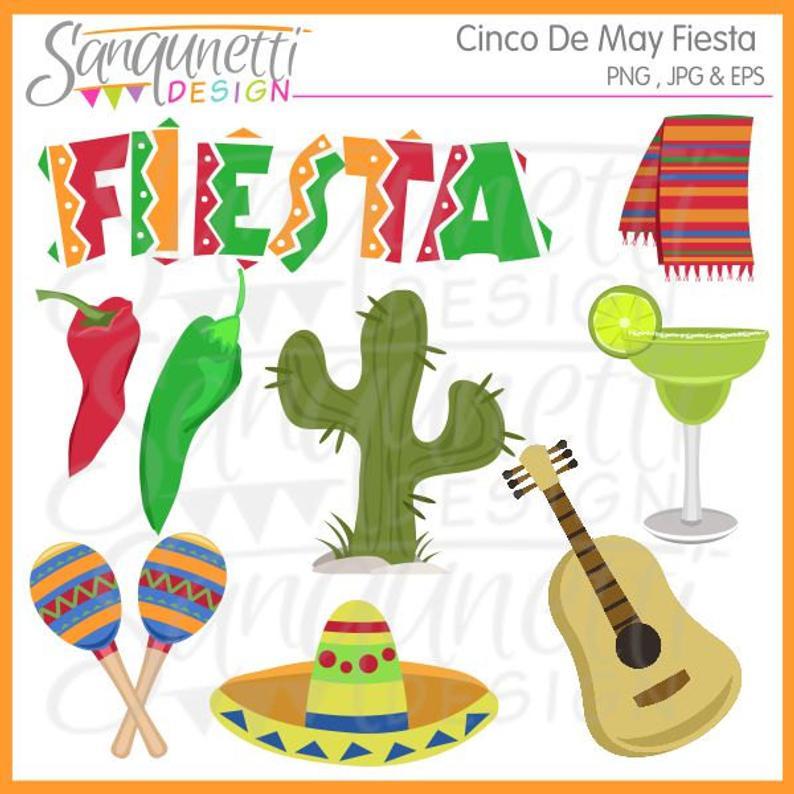 Cinco de mayo fiesta clipart, mexican party clip art digital art.
