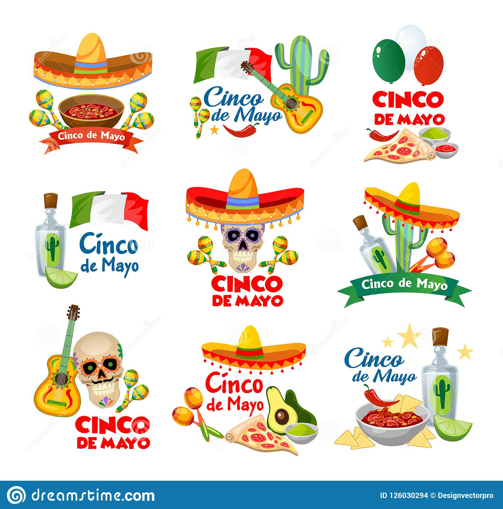 Cinco De Mayo Labels With Traditional Mexican Food And Decorations.