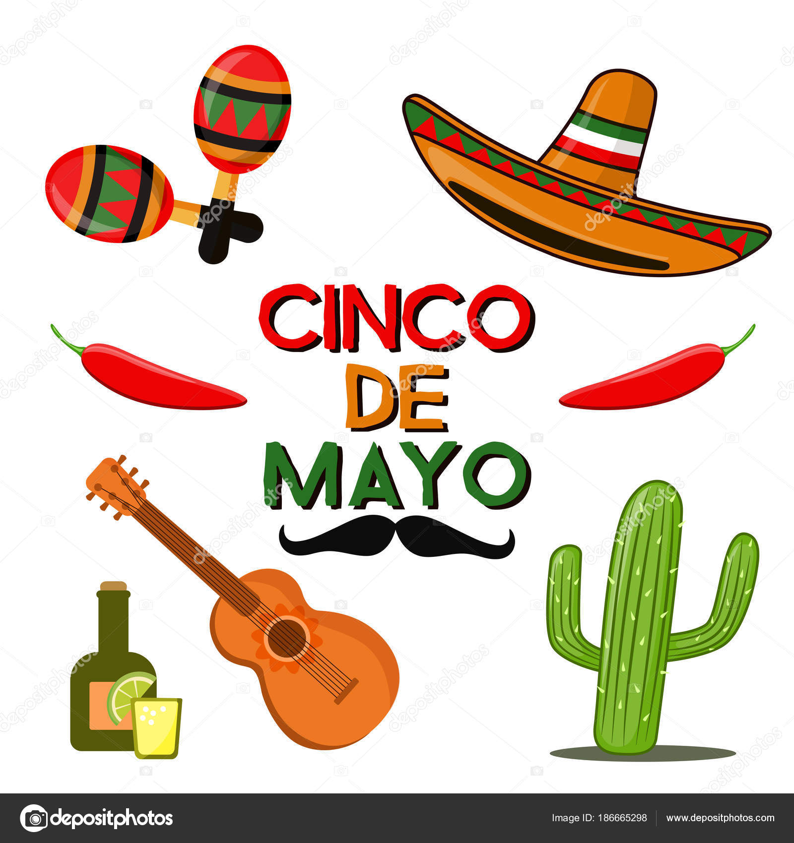 Cinco de Mayo celebration in Mexico, icons set, design element, flat.