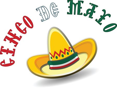 Free Clipart Of A Mexican Sombrero With Cinco De Mayo Text.