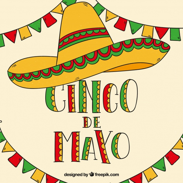 Cinco de mayo background with mexican hat and pennants.