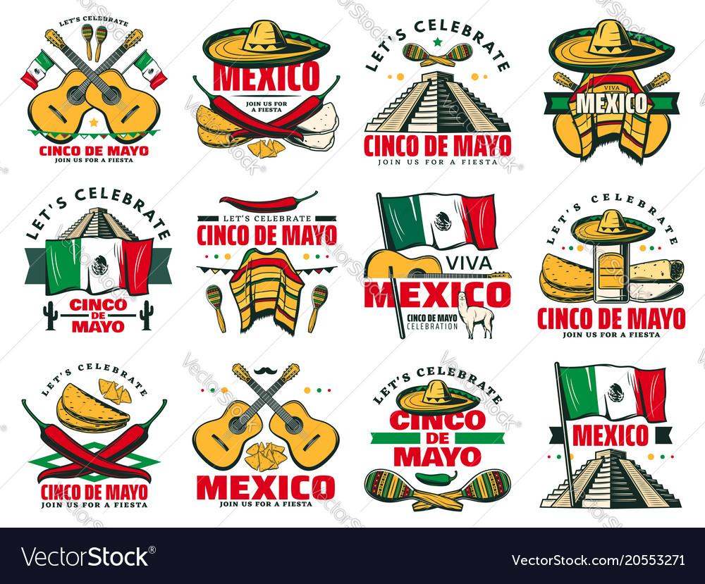 Viva mexico icon for cinco de mayo mexican holiday.