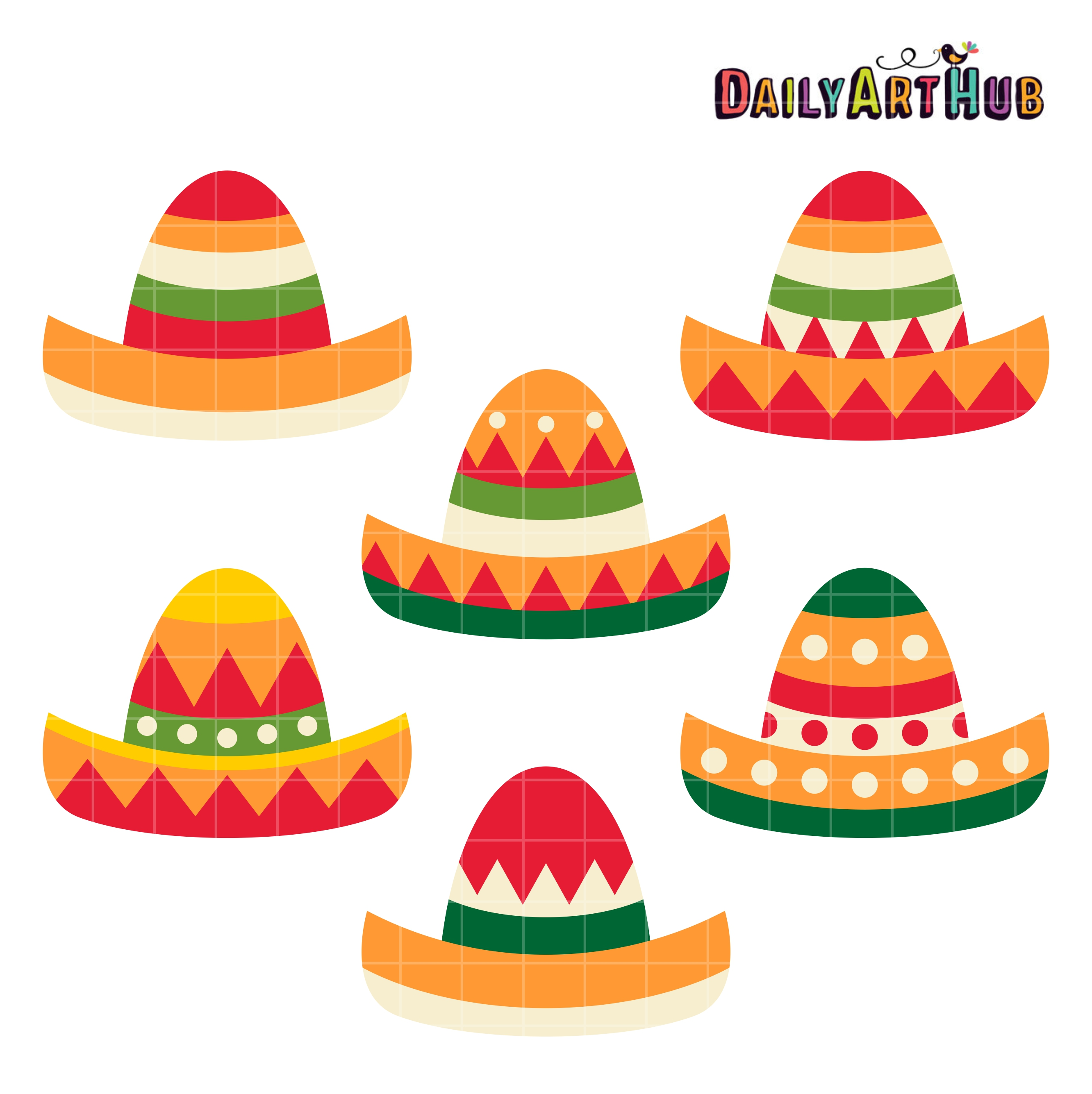 Cinco De Mayo Hats Clip Art Set.