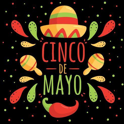 Cinco De Mayo On Black Vector.