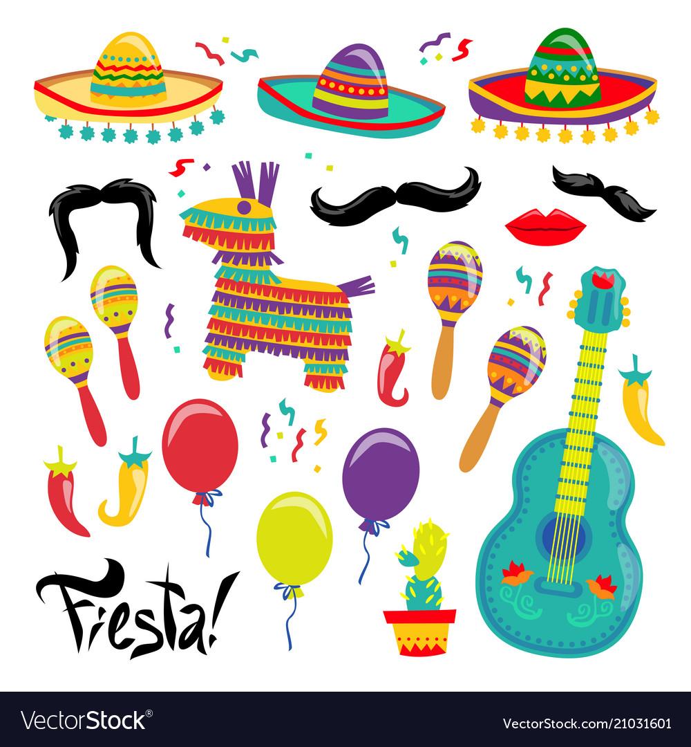Cinco de mayo set of fiesta elements.