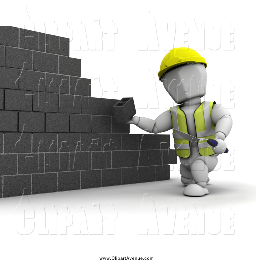Avenue Clipart of a 3d White Contractor Building a Wall with.
