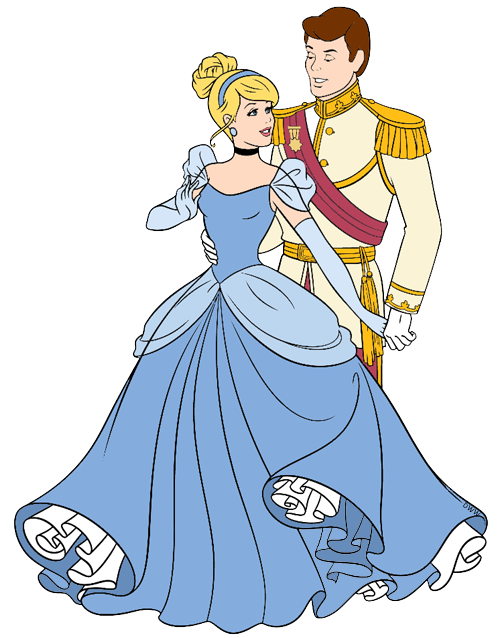 Cinderella and Prince Charming Clip Art.