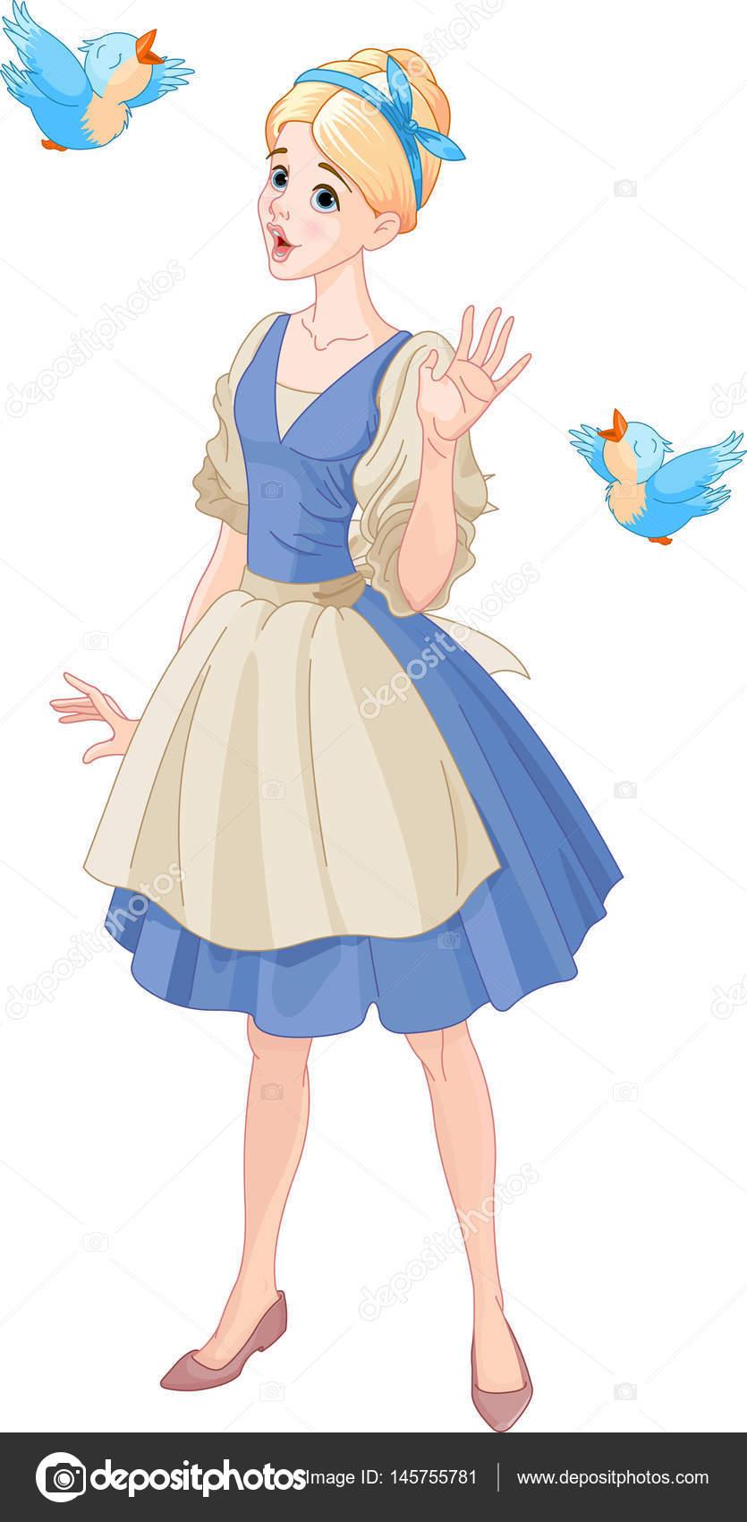 Clipart: cinderella singing with birds.