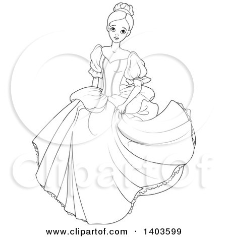 Clipart of a Black and White Lineart Worried Princess, Cinderella.
