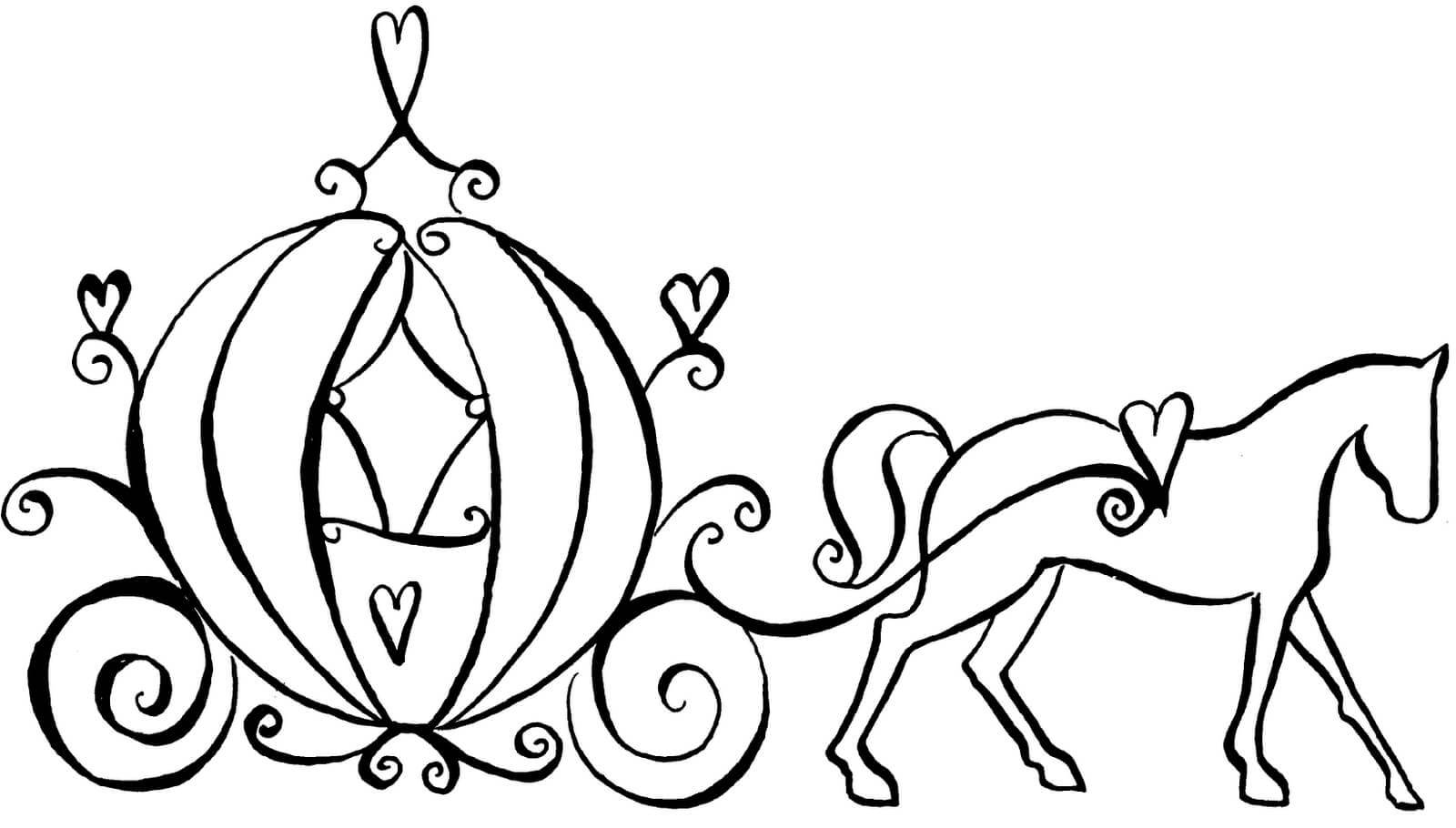 Cinderella carriage black and white clipart 6 » Clipart Portal.