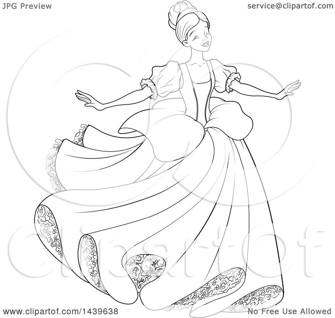 Cinderella black and white clipart 2 » Clipart Portal.