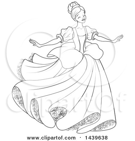 Clipart of a Black and White Lineart Young Lady, Cinderella, Dancing.