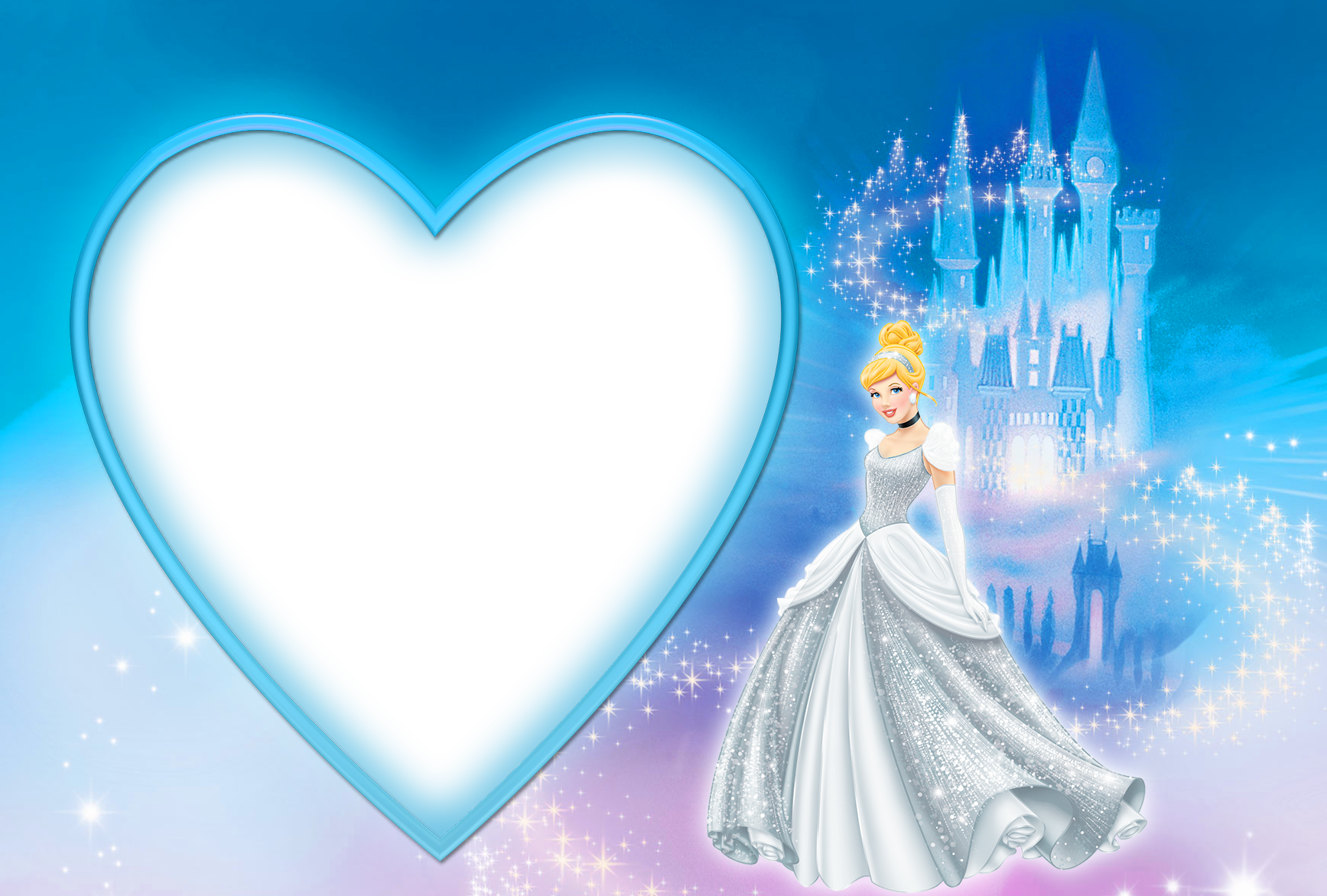 Cinderella Blue PNG Photo Frame.
