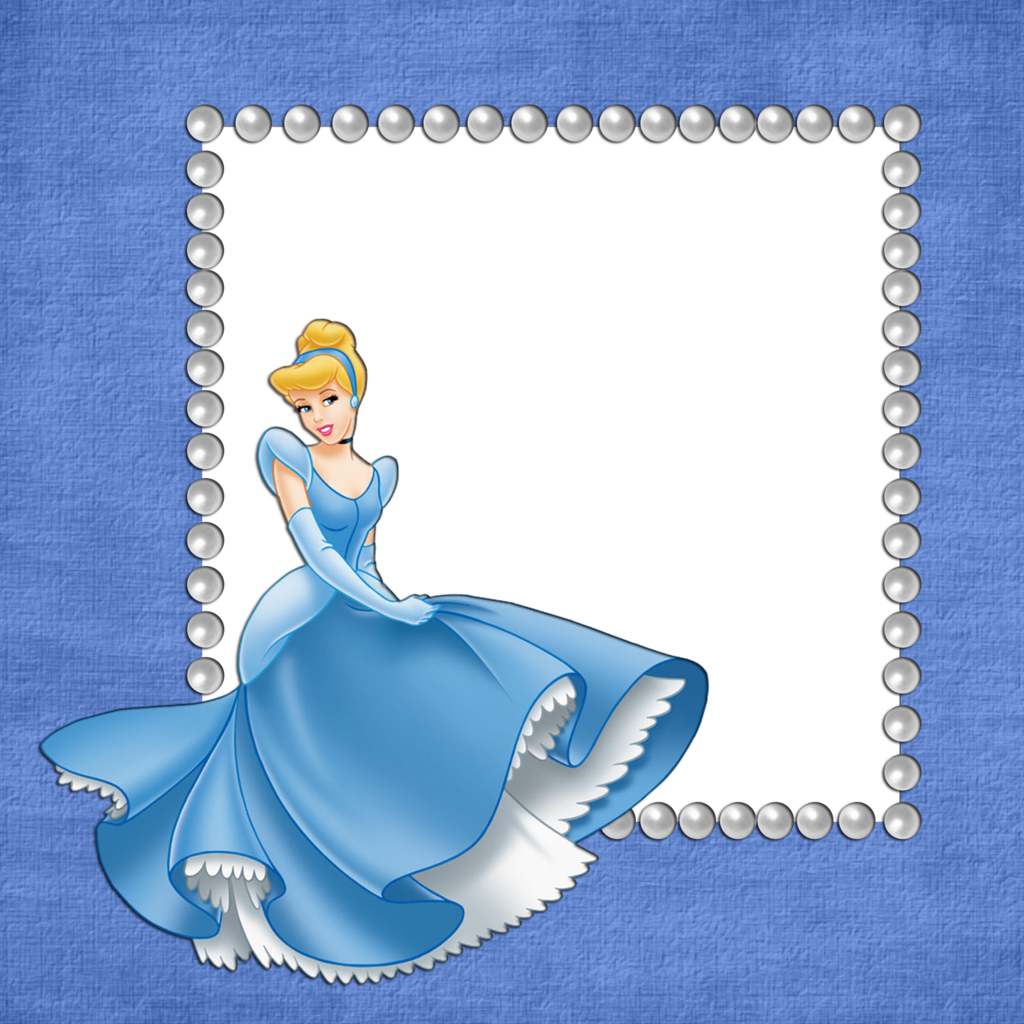 Blue Girls Transparent Frame with Cinderella.
