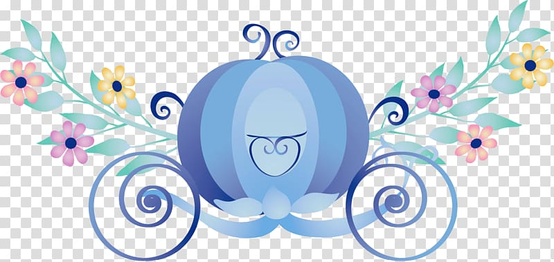 Blue carriage illustration, Cinderella Carriage Sticker, Blue.