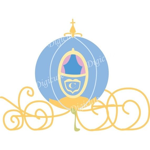 Disney Princess Cinderella's Pumpkin Carriage Digital Clip Art.