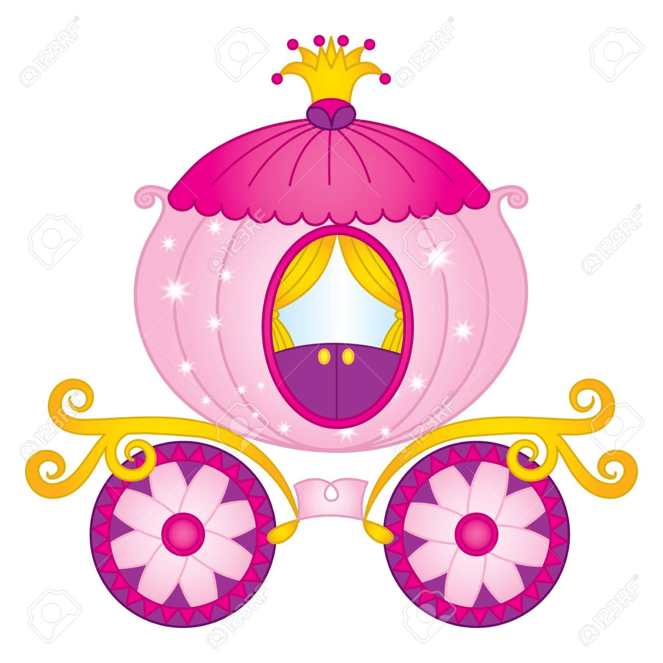 Vector cartoon princess carriage. Vector Cinderella pumpkin carriage.