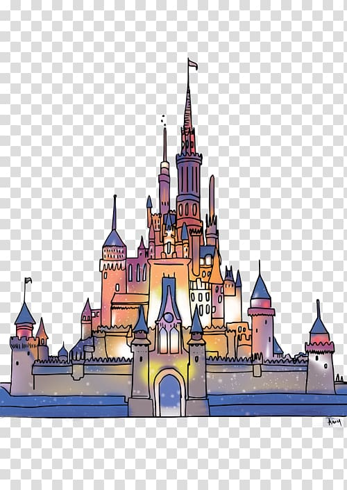Sleeping Beauty Castle Fantasyland Cinderella Castle Drawing Art.