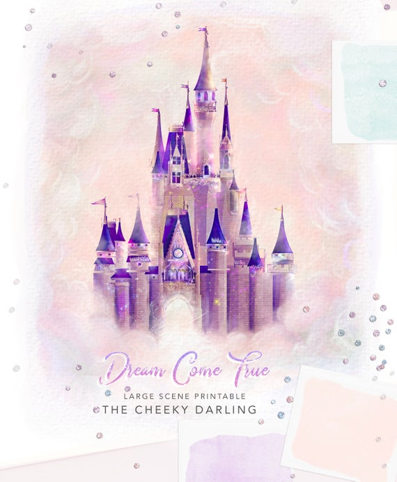 Dream Come True Disney World Castle Cinderella Castle Clipart Wedding Baby  Birthday Hand Painted files Printed CU Fall Halloween Stickers.