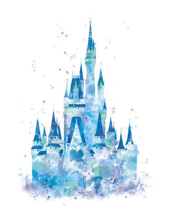 Cinderella Castle Print, Watercolor Princess Castle, Disney Castle.