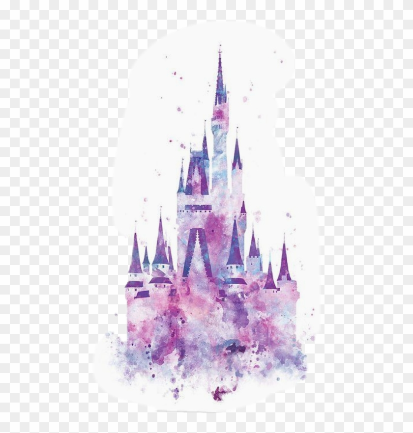 Watercolor Disney Castle Silhouette , Png Download.