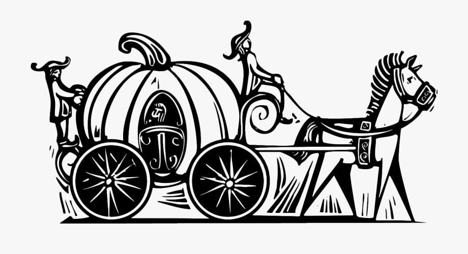 Cinderella Pumpkin Carriage Clipart Black And White.