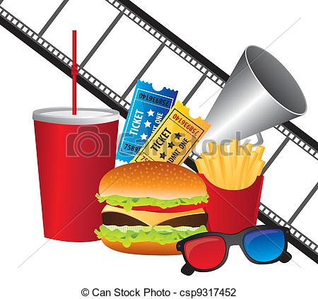 Vector Illustration of cinema and food.