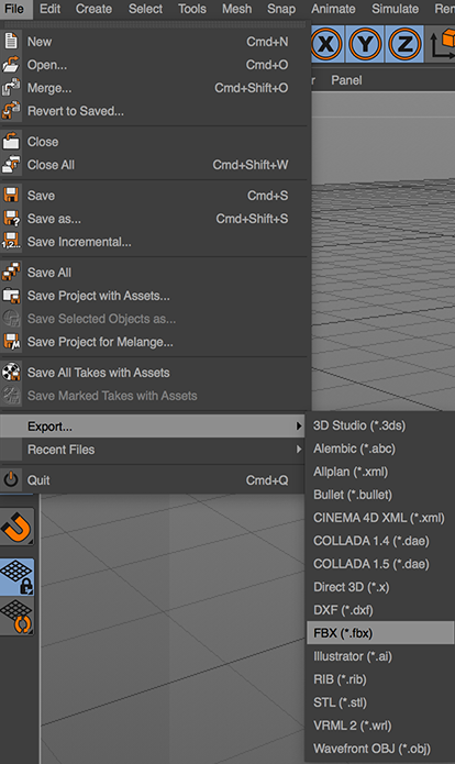 Cinema 4D, 3D Object Export.