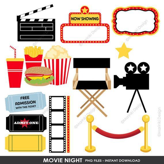 Movie Night Clipart, Cinema Clip Art, Film Theatre Award Graphics for  Birthday Invitations Scrapbook INSTANT DOWNLOAD CLIPARTS C57.
