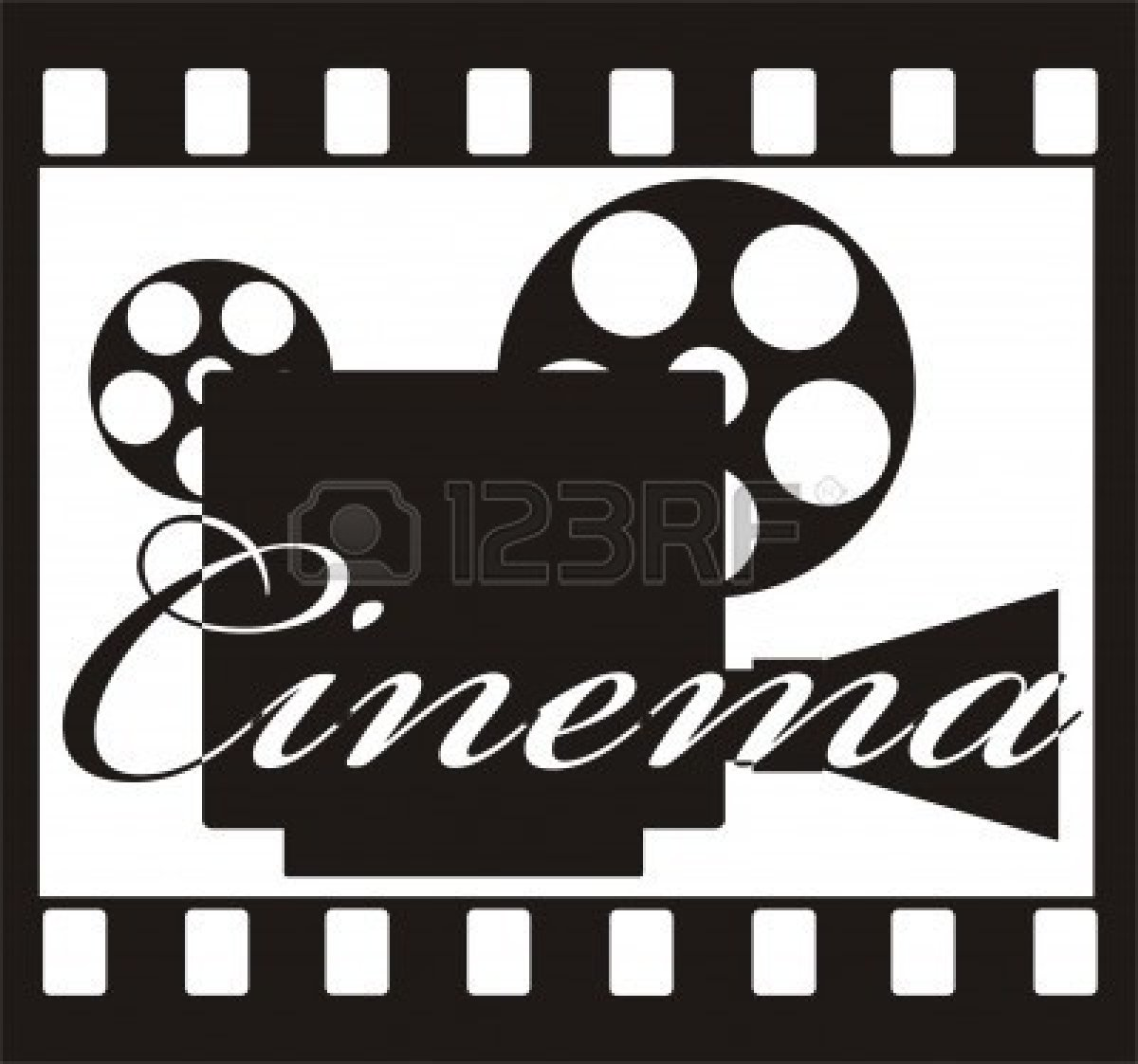 Movie Cinema Clipart Black and White.