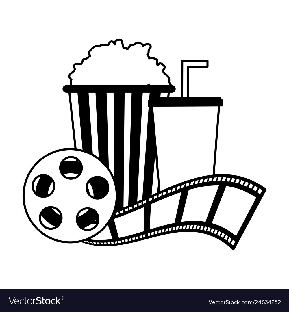 Cinema popcorn and soda reel strip movie film.