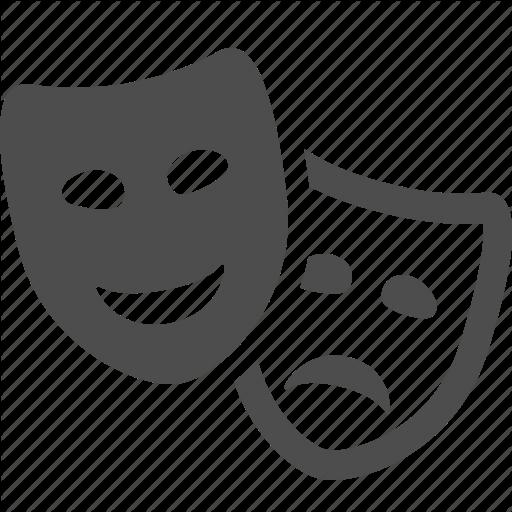 Comedy, drama, masks, theater, theatre icon.