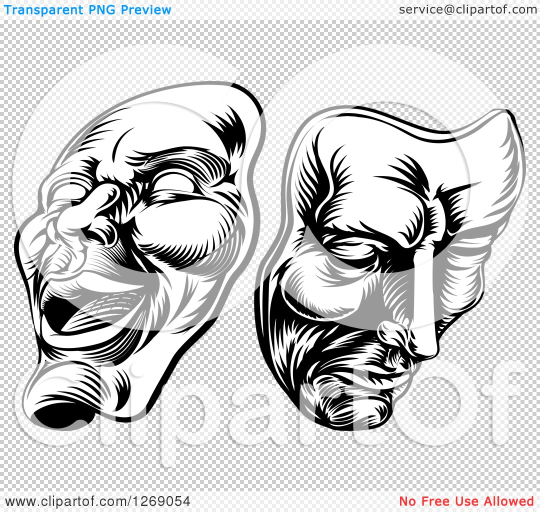Clipart of Black and White Woodcut Comedy and Tragedy Theater.
