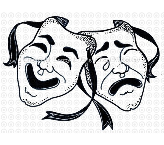 Masks Comedy and Tragedy Theater Decor Wall Mural Vinyl Decal.