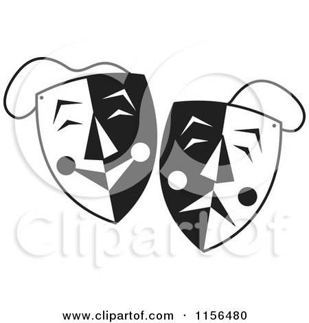 Clipart Comedy And Tragedy Theater Masks And Red Ribbon.