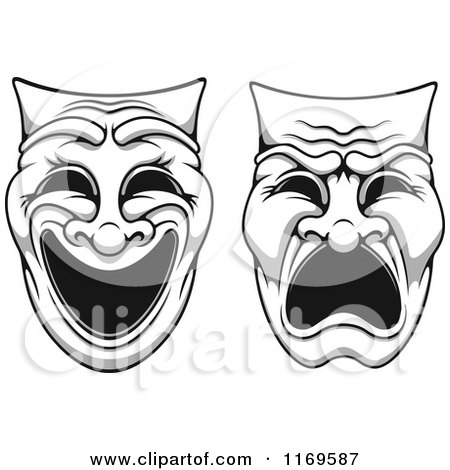 Clipart of Sketched Black and White Theater Masks.