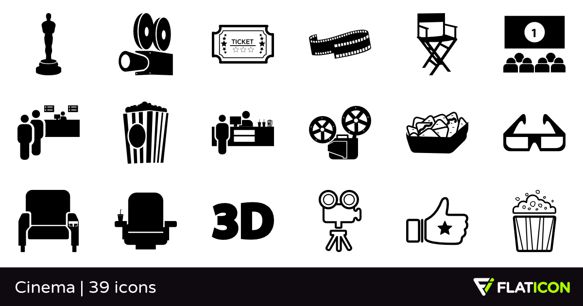 Cinema 39 free icons (SVG, EPS, PSD, PNG files).