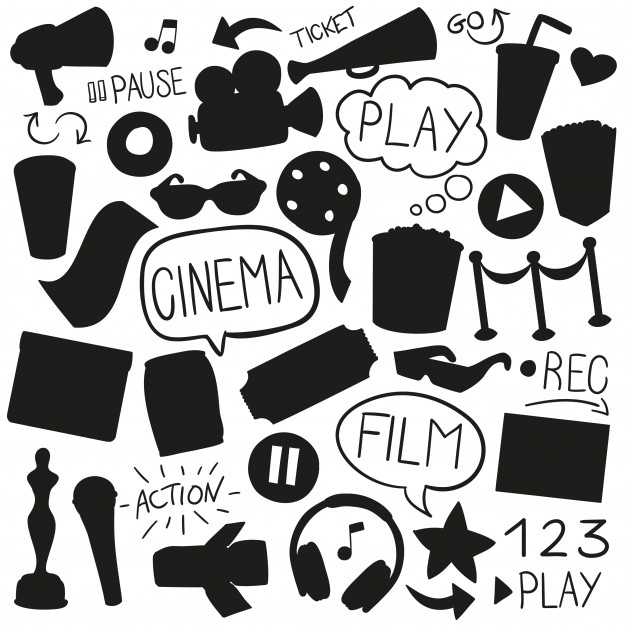 Cinema film silhouette shape clip art designs Vector.