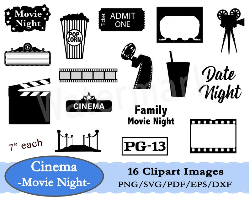 Movie Night SVG, Movie Clipart, Movie Theatre, Cinema Clipart, Popcorn  Clipart, Clapperboard SVG, Movie Ticket, Film Reel, Instant Download.