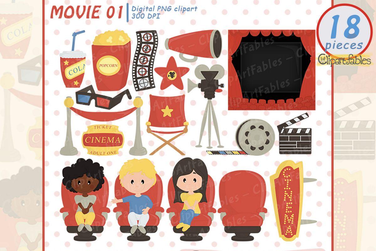 MOVIE clipart, Cinema clip art, Movie party.