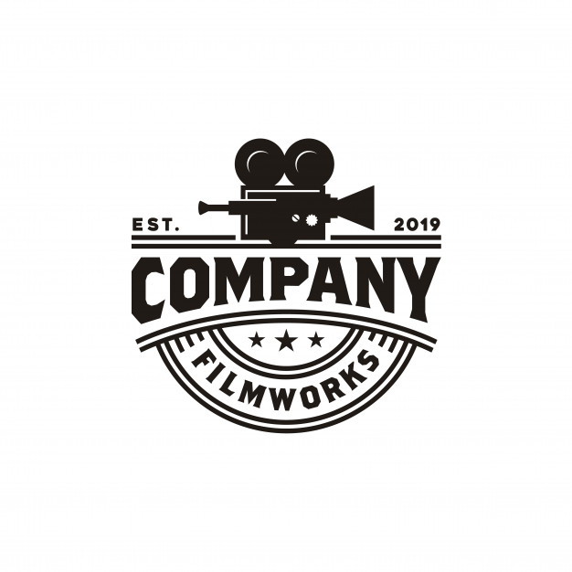 Vintage video camera logo for movie cinema production Vector.
