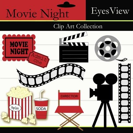 Clipart Movie Night Clip art INSTANT DOWNLOAD by InkAndWhimsy2.