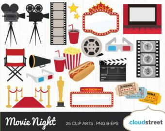 Movie night clipart.