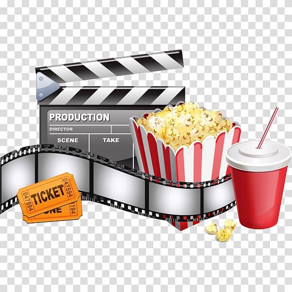 Red and white popcorn clip card, Ticket Film Cinema, cinema ticket.