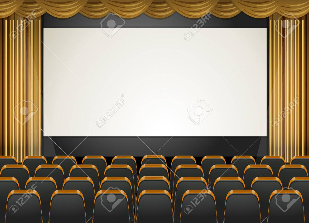Theatre scene with screen and seats illustration.
